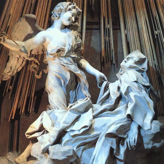 sainte thérèse d'avila,sculpture,santa maria della vittoria,bernin,religion,extase,sexualité,recueillement,foi,mystique,rome,italie