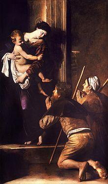caravage,madone des pèlerins,peinture,rome,religion,catholicisme,italie,sant' agostino