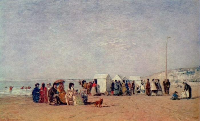 eugène boudin,plage de trouville,peinture,impressionnisme,bains de mer,flaubert,proust,elstir,à l'ombre des jeunes filles en fleurs,littérature,paul morand