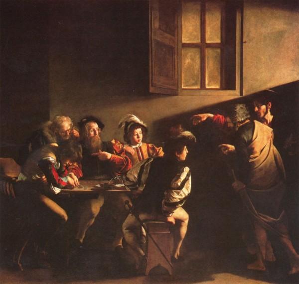 caravage,peinture,italie,rome,saint louis des français,bible,reliigion,christ,la vocation de saint matthieu