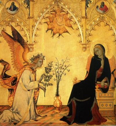 simone martini,annoncation et deux saints,florence,gallerie des offices,italie,peinture,religion