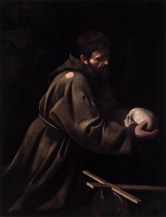 caravage,saint françois en méditation,palais barberini,rome,peinture,religion